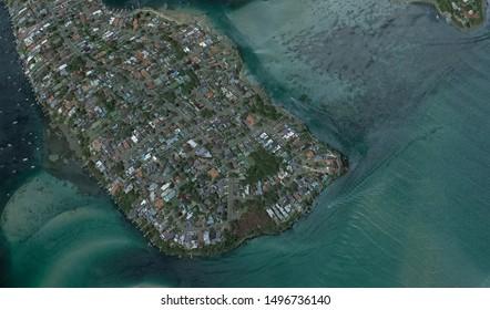 coast of the Australian city of Sydney, from a bird's eye view