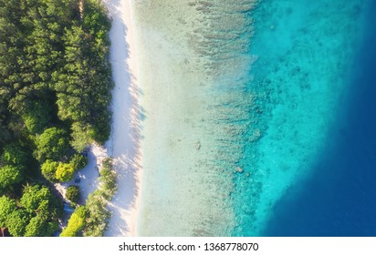 Coast as a background from top view. Turquoise water background from top view. Summer seascape from air. Gili Meno island, Indonesia. Travel - image