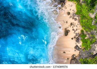 Coast as a background from top view. Turquoise water background from top view. Summer seascape from air. Bali island, Indonesia. Travel - image