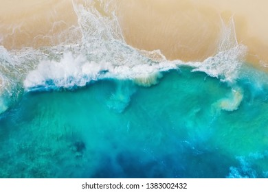 Coast as a background from top view. Turquoise water background from top view. Summer seascape from air. Nusa Penida island, Indonesia. Travel - image