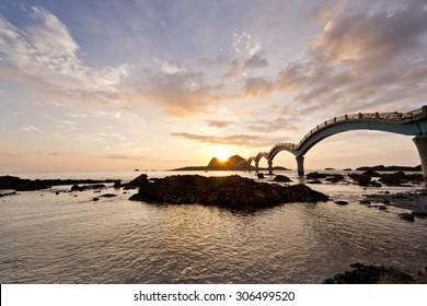 The coast beautiful sunrise in Taiwan Sanxiantai