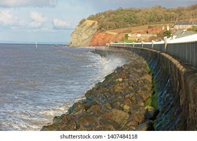 The coast at Blue Anchor, near Minehead, Somerset, England, UK.