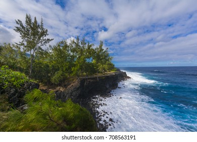 Coast of Cap Mechant place at Reunion Island during a sunny day