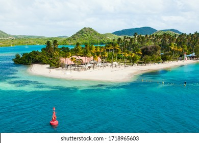 The coast of the Caribbean island of Martinique French Polynesia. Beaches with turquoise water and palm trees.