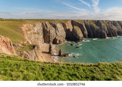 Coast and cliffs at Flimston Bay near Castlemartin in Pembrokeshire, Wales, UK