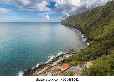 Coast and cliffs near Nordeste on the island of Sao Miguel. Sao Miguel is part of the Azores archipelago in the Atlantic Ocean.