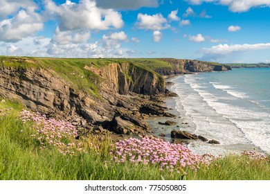 Coast and clouds at Madoc's Haven, near Nolton Haven, Pembrokeshire, Dyfed, Wales, UK