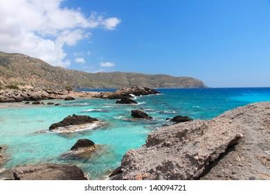 Coast of Crete island in Greece. Rocky beach near famous Elafonisi (or Elafonissi).