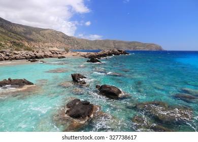 Coast of Crete island in Greece. Rocky beach Kedrodasos near famous Elafonisi (or Elafonissi).