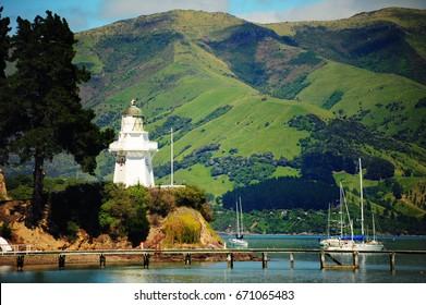 Coast and french village of Akaroa, New Zealand, South Island.