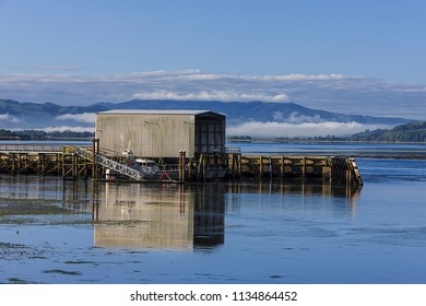 Coast Guard boathouse on Tillamook Bay in Garibaldi, Oregon.