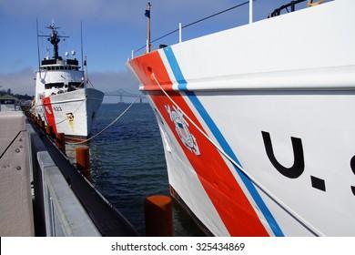 Coast Guard Cutter Steadfast,  anchored facing  CG Cutter Alert Astoria, Oregon
