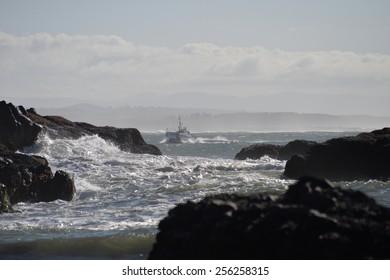 Coast Guard cutter in the surf