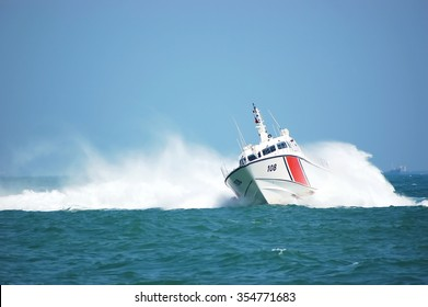 coast guard during storm in sea