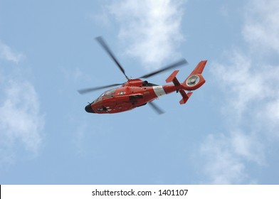 Coast Guard helicopter in flight - all identifying indicia removed