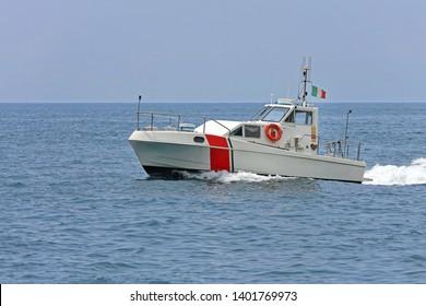Coast Guard Vessel Patrol at Sea Near Amalfi Coast