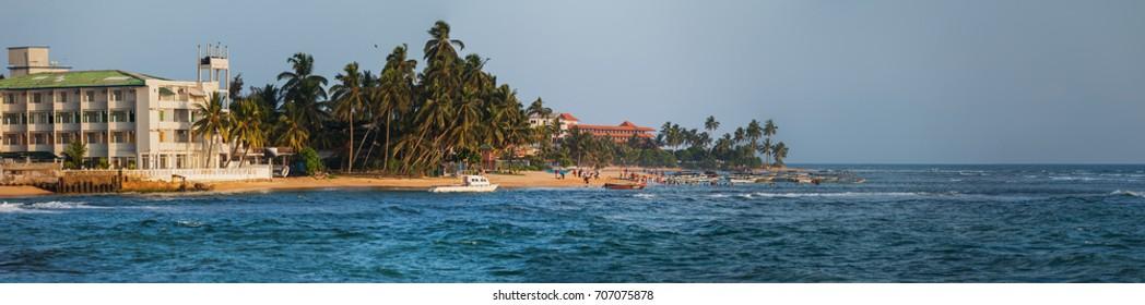 The coast with the hotels. Hikkaduwa, Sri Lanka
