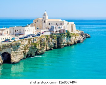 The coast and the houses of Vieste, Gargano, Puglia