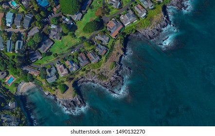 coast of Lahaina Hawaii USA, bird's eye view in 3D