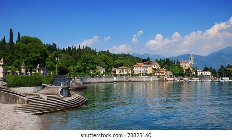 Coast of Lake Como at Tremezzo with little beach