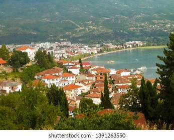 Coast of Lake Ohrid seen from Ohrid City. Ohrid is the oldest lake in Europe, known of its, clean, transparent water. City and Lake Ohrid are UNESCO natural and cultural heritage sites.