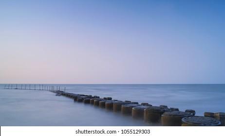Coast Landscape of Fengkeng Fishing Port - Long exposure at sunset, shot in Xinfeng Township, Hsinchu, Taiwan.