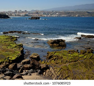 Coast landscape, seashore at low tide and city, The confital, Las palmas of Gran canaria