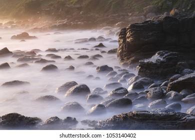 Coast Landscape of Waimushan Seaside Scenic Area - Long exposure in spring at dawn, shot in Keelung, Taiwan.