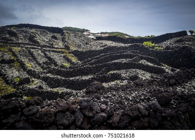 coast of lava and small village on the island of Pico in the Azores