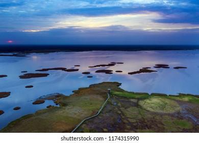 Coast of Liepaja lake in sunrise time, Latvia.