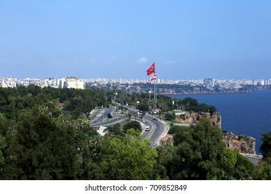 Coast line of Antalya Turkey city and main flag pole