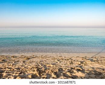 Coast line landscape with rocks, beach and sand of Salento, Puglia, region of Italy
