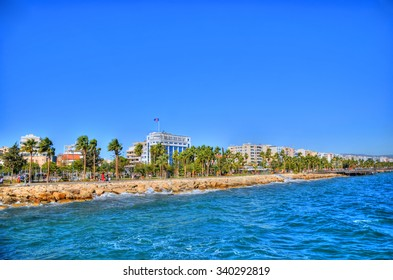 The coast line of Limassol, Cyprus on a sunny day on the background of a clear blue sky
