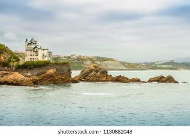 Coast line and Marbella beach . Biarritz, France