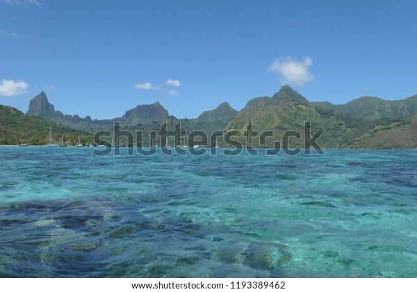 Coast Line Moorea Tahiti French Polynesia Royalty Free