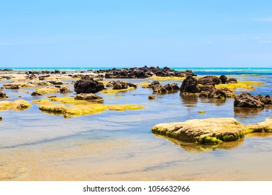 coast of mediterranean sea in Italy with rocks