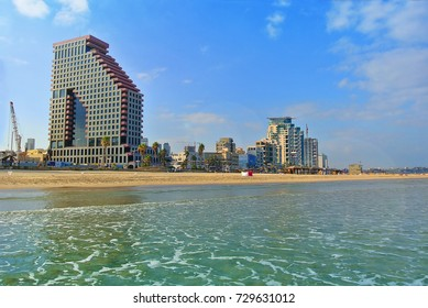 The coast of the Mediterranean Sea with a view of Tel Aviv. Israel