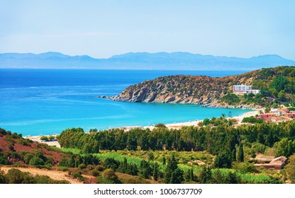Coast at the Mediterranean sea in Villasimius, in Cagliari, South Sardinia in Italy