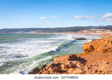 coast near Agadir. rocky coast of the Atlantic Ocean