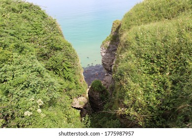 The coast of Norhtern Ireland near the carrick-a-rede rope bridge.