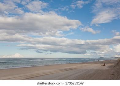 Coast on the East coast of Australia, Sunshine coast, evening deserted beach.
