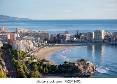 The coast of Oropesa del Mar on the Costa Azahar, Spain
