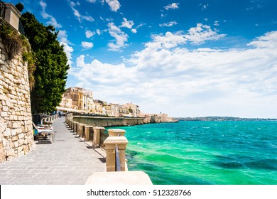 Coast of Ortigia island at city of Syracuse, Sicily, Italy. Beautiful travel photo of Sicily.