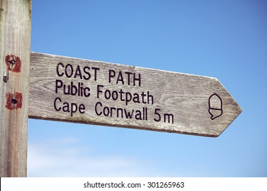 coast path public footpath signs at Cornwall, guild to Cape Cornwall