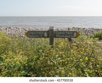 """""""Coast Path"""" Sign Post on the South West Coastal Path between Minehead and Porlock Weir in Somerset, England, UK."""