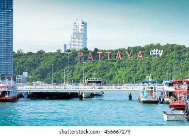 Coast of the Pattaya beach and boat