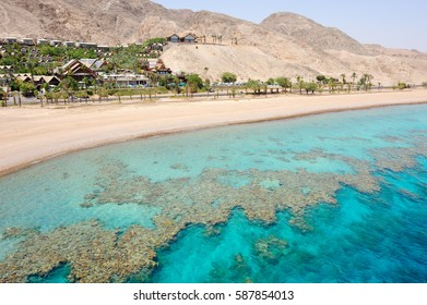 Coast of the Red Sea Gulf of Eilat in Israel