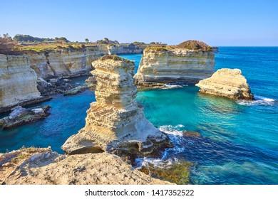 the coast of sant'andrea near otranto, salento, the eastern part of apulia, italy
