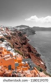 Coast of Santorini in vintage colors