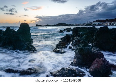Coast of Sao Roque at Sunset, Azores Protugal